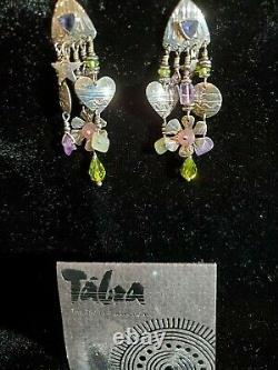 Vintage Tabra earrings Sterling silver multiple stones stud earrings