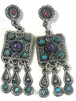 Vintage Taxco Mex Sterling Matl Style Amethyst Coral Turquoise Dangle Earrings