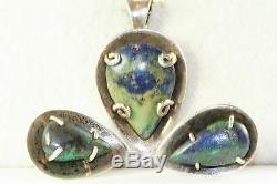 Vintage Taxco Mexican Sterling Silver Azurite Necklace Earrings Set J Sotelo