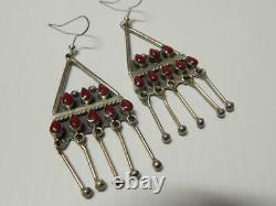 Vintage Taxco Mexican Sterling Silver Coral / Carnelian Dangler Earrings Solid