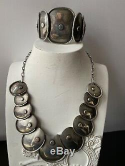 Vintage Taxco Mexican Sterling Silver Set Necklace Cuff Earrings QUALITY