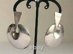 Vintage Taxco Mexico Sterling Silver Modernist Dangle Earrings XL 17 grams