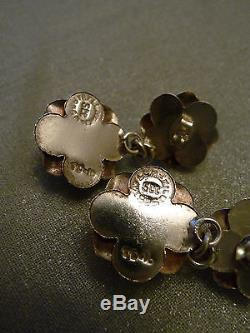 Vintage Taxco Mexico sterling silver Roses Necklace Bracelet Earrings 94gms