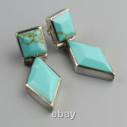 Vintage Taxco Turquoise 950 Sterling Silver Earrings Mexico Facet Cut Mexican