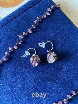Vintage Ten Thousand Things Sterling Silver Rose Quartz bead Necklace & earrings