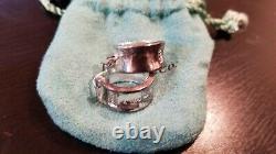 Vintage Tiffany & Co 1837 Sterling Silver Wide Hoop Earrings 1997