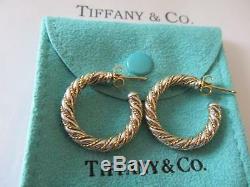 Vintage Tiffany & Co. 18K & Sterling Silver Rope Hoop Earrings Large