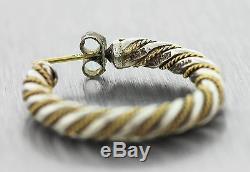 Vintage Tiffany & Co. 18K Yellow Gold Sterling Silver Twisted Hoop Earrings