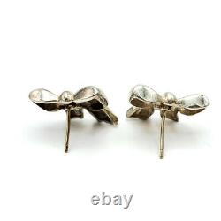 Vintage Tiffany &Co. 1990 Sterling Silver Ribbon Bow Stud Earrings #NG59