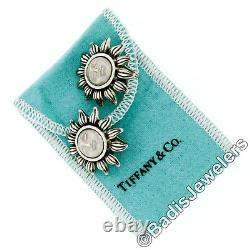 Vintage Tiffany & Co. 1995 Sterling Silver Sun Face Clip On Earrings with Pouch