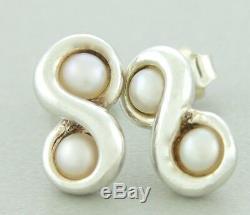 Vintage Tiffany & Co 925 Sterling Silver Pearl Infinity Stud Earrings
