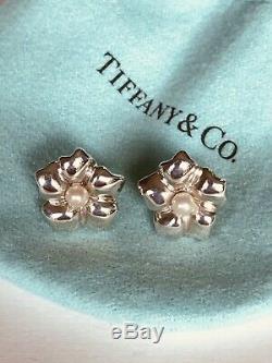 Vintage Tiffany & Co Pearl Flower Stud Sterling Silver Earrings