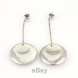 Vintage Tiffany & Co. Sterling SilverConcave Disc Shape Drop Dangle Earrings