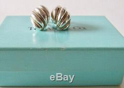 Vintage Tiffany & Co. Sterling Silver 14 K Gold Braided Rope Shell Clip Earrings