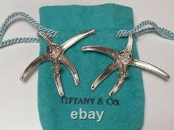 Vintage Tiffany & Co. Sterling Silver & 18k Gold Starfish Earrings Stud + Omega