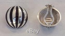 Vintage Tiffany & Co. Sterling Silver Black Enamel Dome Clip On Earrings