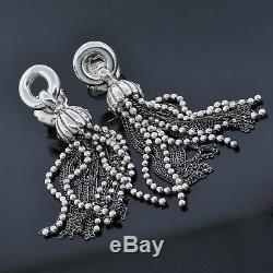 Vintage Tiffany & Co. Sterling Silver Chain Bead Tassel Drop Torsade Earrings