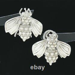 Vintage Tiffany & Co. Sterling Silver Detailed Bumble Bee with Bead Work Earrings