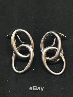 Vintage Tiffany Co Sterling Silver Elsa Peretti Interlocking Ovals Earrings
