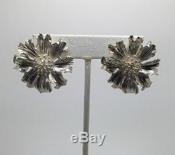 Vintage Tiffany & Co Sterling Silver Flower Earrings, 1960's Excellent