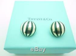 Vintage Tiffany & Co. Sterling Silver Green Enamel Dome Clip On Earrings