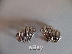 Vintage Tiffany & Co. Sterling Silver Italy Shell Wave Cuff Earrings 925