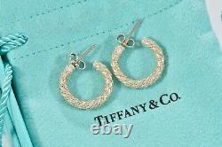Vintage Tiffany & Co Yellow Gold Sterling Silver Twist Rope Hoop Earrings 20mm