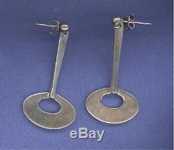 Vintage Tone Vigeland Norway Sterling Silver PIerced Earrings