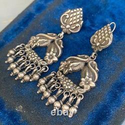 Vintage Tribal Ethnic Boho Handmade Sterling Silver Dangle Drop Earrings