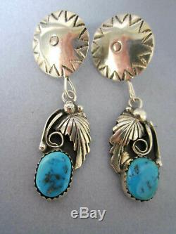Vintage Turquoise & Sterling Silver Earrings & Rings, Lot of 5
