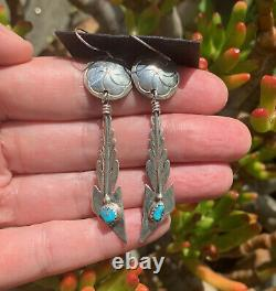 Vintage UNWORN Native American Turquoise Earrings Sterling Silver Navajo NWT
