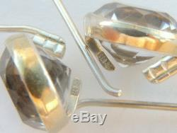 Vintage USSR Russian Sterling Silver 875 Woman's Earrings Rock Crystal Gemstone