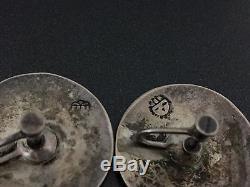 Vintage Victor Coochwytewa Hopi Sterling Silver Swirl Humming Birds Earrings