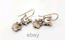 Vintage Victorian 14k Yellow Gold Sterling Silver Garnet Ladies Earrings