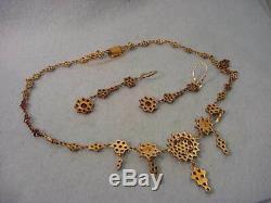Vintage Victorian Rose Cut Garnet Necklace & Earring Set Gold WashOver Sterling