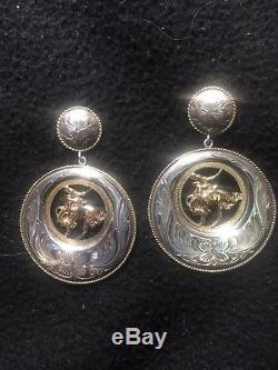 Vintage Vogt Sterling Silver And 14k Gold Earrings