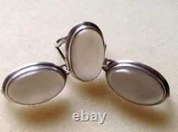 Vintage Women's Set Jewelry Sterling Silver 925 Earrings Ring Natural Chalcedony