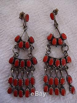 Vintage ZUNI Claudine Penketewa Sterling Silver & Red CORAL Chandelier EARRINGS