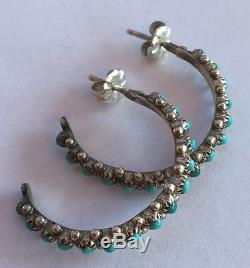 Vintage ZUNI Native American Sterling Silver Turquoise PETIT POINT Hoop EARRINGS