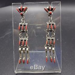 Vintage ZUNI Sterling Silver & CORAL Needlepoint Chandelier EARRINGS