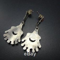 Vintage ZUNI Sterling Silver CORAL Needlepoint Chandelier EARRINGS Pierced