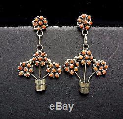 Vintage ZUNI Sterling Silver CORAL Petit Point Cluster EARRINGS Flower Basket