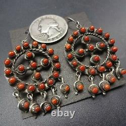 Vintage ZUNI Sterling Silver CORAL Snake Eye Petit Point MEDICINE WHEEL EARRINGS