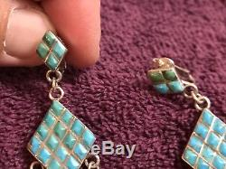 Vintage ZUNI Sterling Silver & TURQUOISE EARRINGS Inlaid Cabs