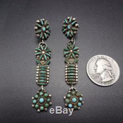 Vintage ZUNI Sterling Silver TURQUOISE Needlepoint EARRINGS Repurposed Watch Tip