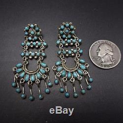 Vintage ZUNI Sterling Silver & TURQUOISE Petit Point Chandelier EARRINGS