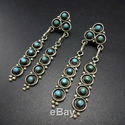 Vintage ZUNI Sterling Silver TURQUOISE Snake Eye Petit Point EARRINGS Pierced