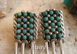 Vintage ZUNI Sterling TURQUOISE CLUSTER SNAKE EYE Dangle Earrings 1-7/8 Signed