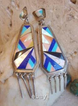 Vintage Zuni 3 Sterling Silver MULTI-GEM MOSAIC INLAY Dangle Post Earrings