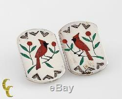 Vintage Zuni Cardinal Red Coral Inlay Sterling Silver hand signed Earrings